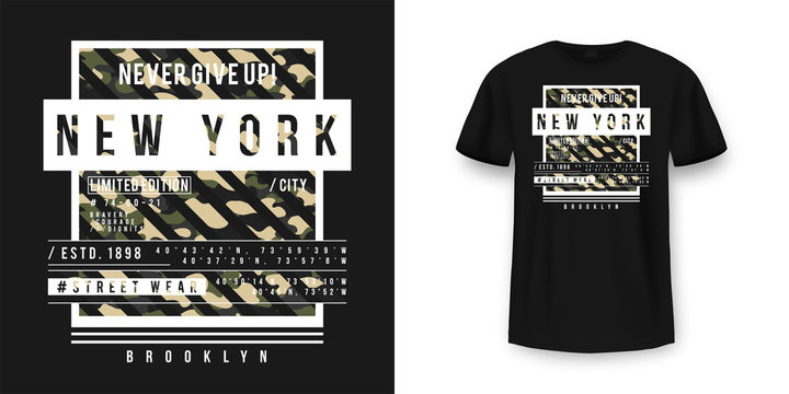 T-shirt design in military army style with camouflage texture. New York City typography with slogan for shirt print. Black t-shirt mockup with graphic print