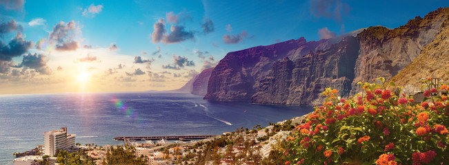 Poster Canary Islands Los Gigantes Cliff, Canary Islands, Tenerife, Spain.Scenery landscape in Canary island.Sea and bech