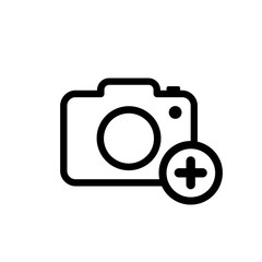 Add photo icon isolated on white background. Camera with plus icon. New photo. Vector stock