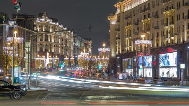 Tverskaya Street timelapse with Wineglass-shaped Street Lamps in Winter Season at frosty night. Moscow, Russia