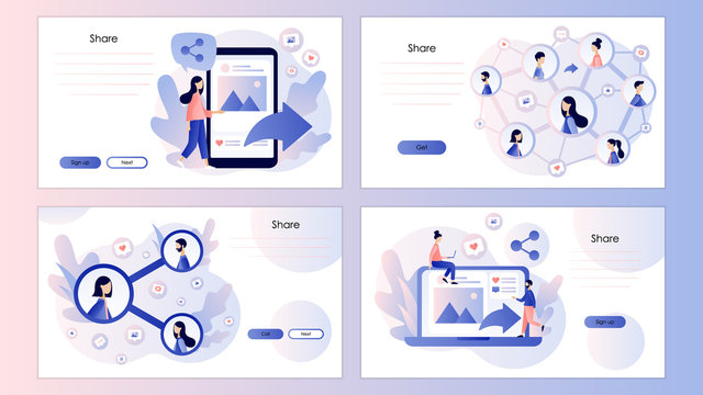 Share concept. Tiny people sharing links in social networks. Screen template for mobile smart phone, landing page, template, ui, web, mobile app, poster,banner. Modern flat cartoon style. Vector