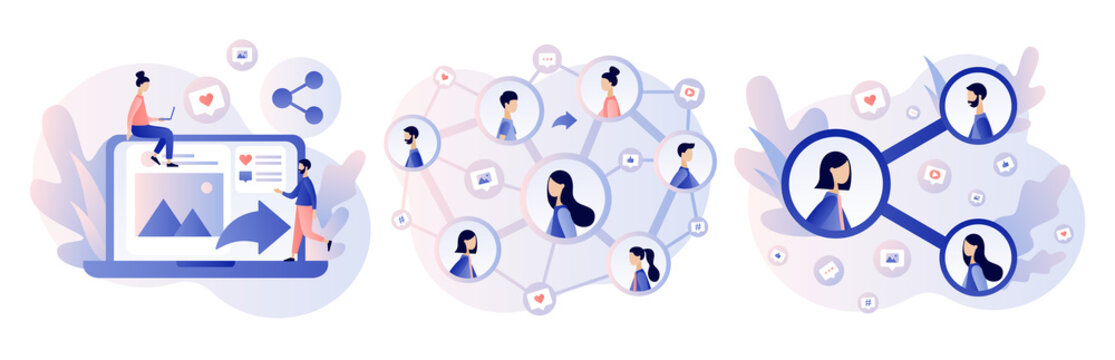 Share concept. Tiny people sharing data, photos, links, posts and news in social networks. Modern flat cartoon style. Vector illustration on white background