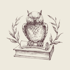 Canvas Prints Owls cartoon Wise owl symbol, books, laurel and scroll, education concept