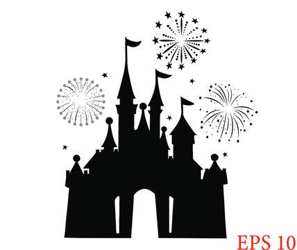Children fairy castle icon, cartoon castle logo, amazing amusement park, fireworks. EPS 10