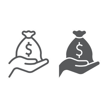 Investment line and glyph icon, business and finance, money bag on hand sign, vector graphics, a linear pattern on a white background, eps 10.