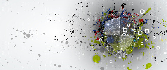 Wall Mural - Cybersecurity and information or network protection. Future technology web services for business and internet project