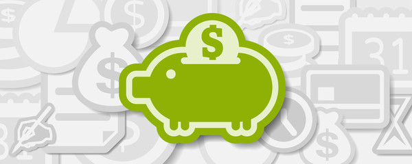 Smart financial planning and money saving strategy plan banner with piggy bank in central focus from other elements