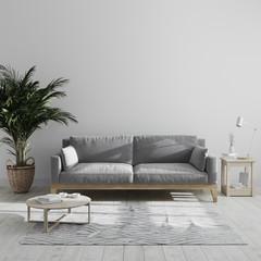 Fototapeta Modern minimalist living room interior mock up with gray sofa and palm tree, gray living room interior background, scandinavian style, living room in gray tones, 3d rendering obraz