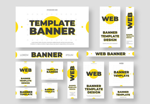 Web and Social Media Layouts with Yellow Accents