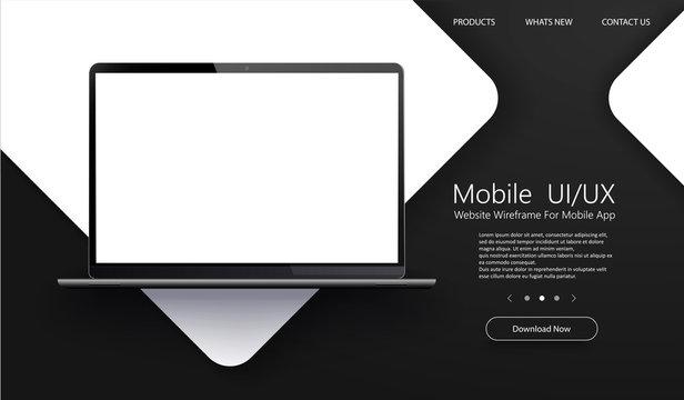 laptop, mock, up, mockup, 3d, ui, screen, white, design, app, application, background, banner, black, business, button, clipart, computer, concept, digital, display, front, illustration, interface, in