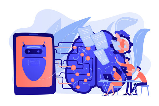 Programmers testing chatbot intelligence and brain with circuit. Chatbot Turing test, intelligent behavior, human-like response concept. Pinkish coral bluevector isolated illustration