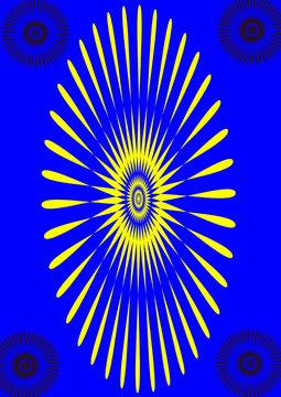 yellow sunburst on blue