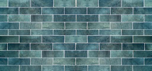 Blue ceramic tile background. Old vintage ceramic tiles in blue to decorate the kitchen or bathroom