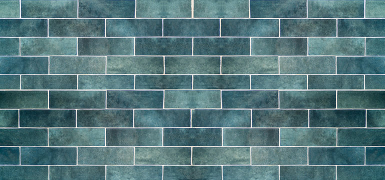 Blue ceramic tile background. Old vintage ceramic tiles in blue to decorate the kitchen or bathroom