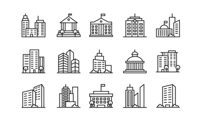 Big city buildings linear icons set. Urban architecture. State institutions, religious and cultural monuments. Educational centres and residential buildings pack isolated on white background.