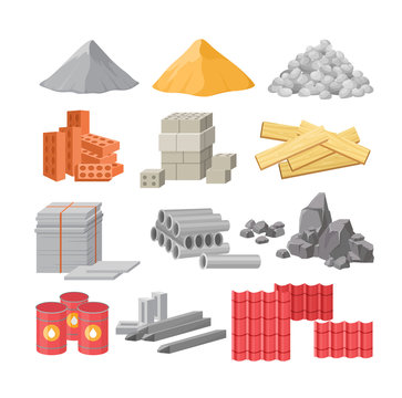 Building materials flat vector illustrations set. Cement, sand and gravel piles. Construction, renovation works supplies. Bricks and timber isolated on white. Oil barrels, metal beams and roof tile.