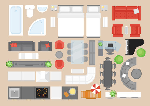 Apartment furniture flat vector illustrations set. Modern style house interior decor design elements pack. Contemporary bedroom, bathroom, kitchen and living room furnishing items top view.