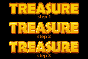 Gold logo treasure inscription in 3 steps of drawing.