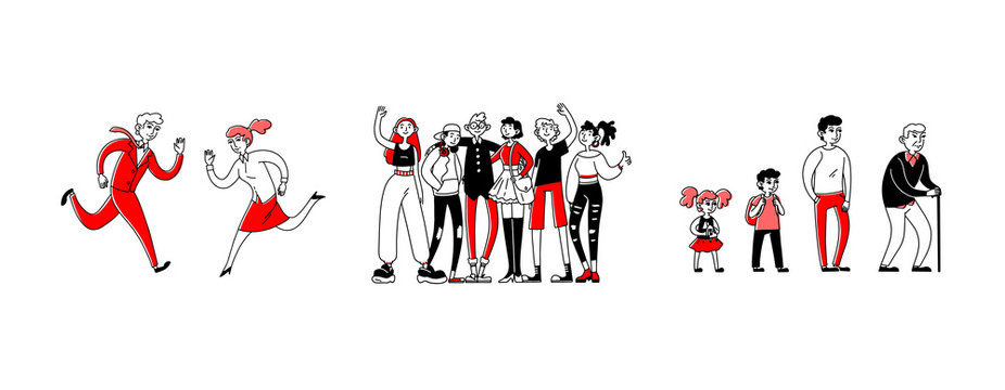 Social groups set. Team of teenagers business couple, different ages. Flat vector illustrations. People, society, demography, gender concept for banner, website design or landing web page