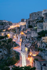 Matera, European Capital of Culture 2019. Old town listed as World Heritage by UNESCO, Sasso Barisano at night, Basilicata, Italy