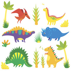 Set with funny cartoon dinosaurs, triceratops, diplodocus, tyrannosaurus, stegosaurus, pterosaur, corythosaurus