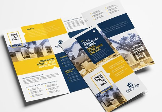 Construction Trifold Brochure Layout