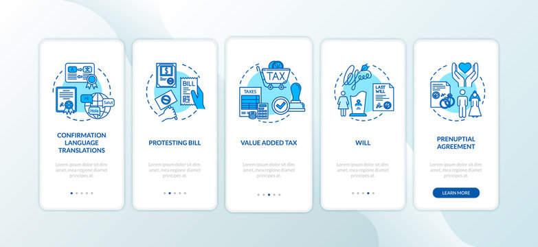 Document confirmation onboarding mobile app page screen with concepts. Notarization. Protesting bill. Walkthrough 5 steps graphic instructions. UI vector template with RGB color illustrations