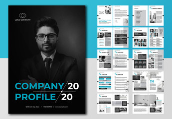 Company Profile Layout with Blue and Gray Accents