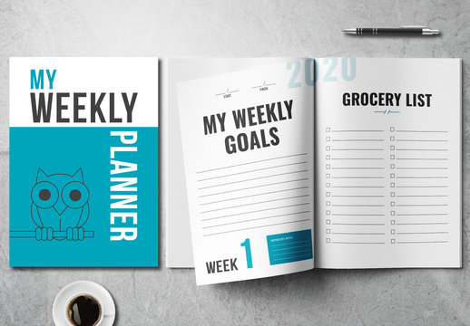 Weekly Planner Layout with Blue Accents and Owl Illustration