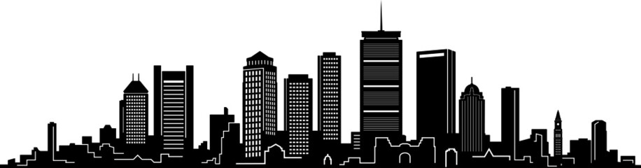 Boston City Skyline Outline Silhouette Vector Wall mural