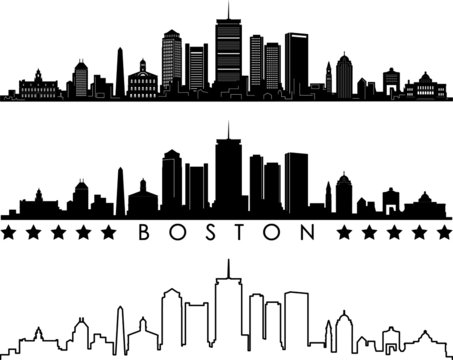 Boston City Skyline Outline Silhouette Vector