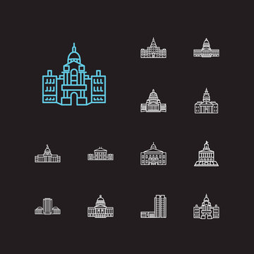 America icons set. Alabama state capitol and america icons with courthouse, us landmarks, architectural. Set of history for web app logo UI design.