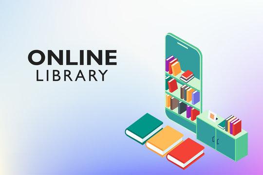 Set of books on Mobile application. Online Digital Library vector concept Education. ebook illustration template with a desk, bookshelves, smartphone screen. Horizontal web education banner.