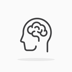 Human brain icon in line style. Editable stroke.