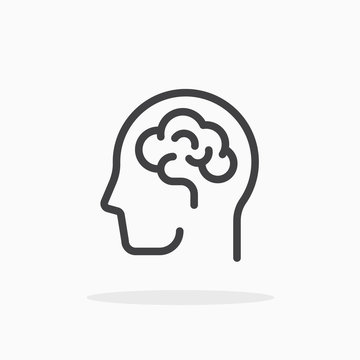 Human brain icon in line style. Editable stroke.