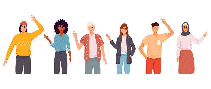People wave hello. Men, women in casual wear say hello.