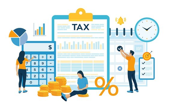 Concept tax payment. Data analysis, paperwork, financial research report and calculation of tax return. Payment of debt. Government, state taxes. Vector illustration in flat style with characters.