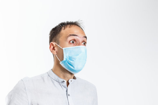 Man wearing the Protection Mask on white background.