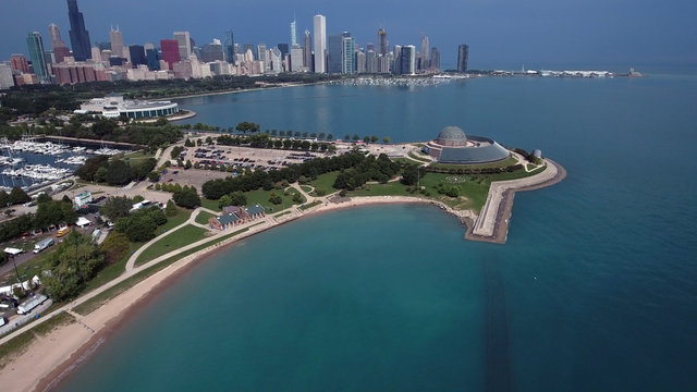 Chicago, Illinois lakefront aerial seen from the shores of Lake Michigan in late summer