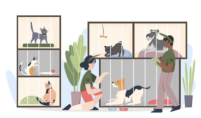 Fototapeta Animal shelter with pets in cages. Man and woman volunteers feeding animals cartoon flat vector illustration obraz