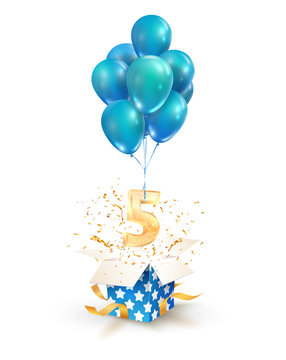Open textured gift box with number 5 th flying on balloons. Five years celebrations. Greeting of fifth anniversary isolated vector design elements.