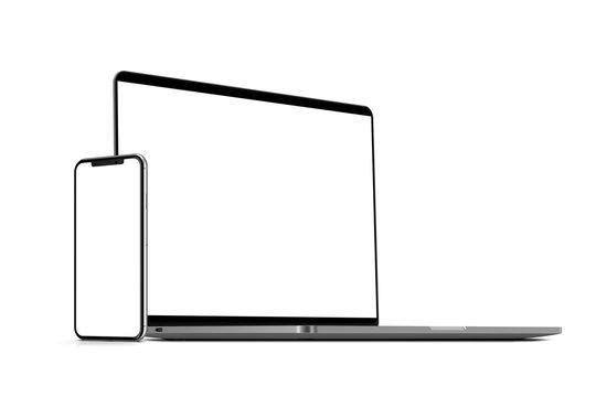 Laptop, smartphones. Template, mockup, design.