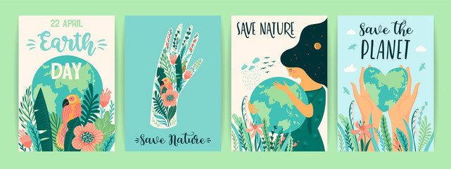 Earth Day. Save Nature. Vector templates for card, poster, banner, flyer.