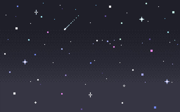 Pixel art star sky at night.
