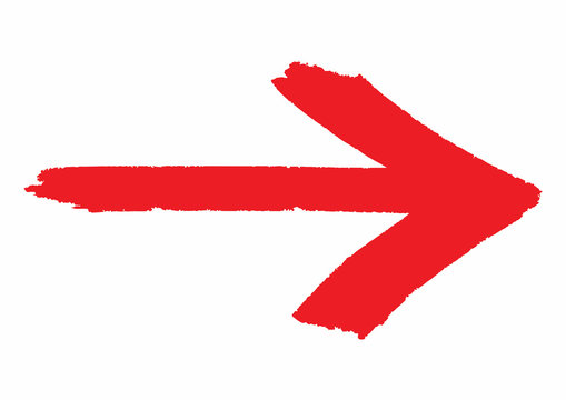 Red grungy arrow direction sign painted with hand brush over white transparent background. Vector illustration.