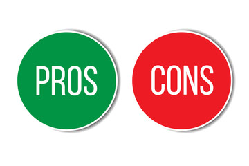 Pros and cons assessment analysis red left green right word text on buttons in empty white background. Simple concept for advantages disadvantages in business planning. Vector illustration.