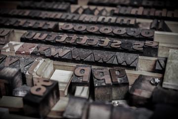 wooden letters blocks from old letterpress alphabet used for typesetting