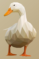 White Duck in Lowpoly Vector Illustration