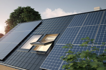Solar panels on the roof, 3D illustration
