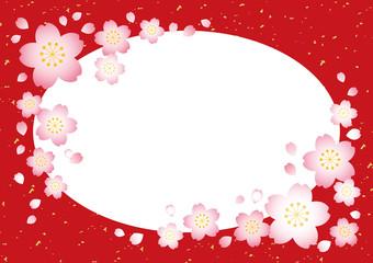 桜フレーム【和風赤】